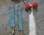 Blue Enamel Stick Earrings