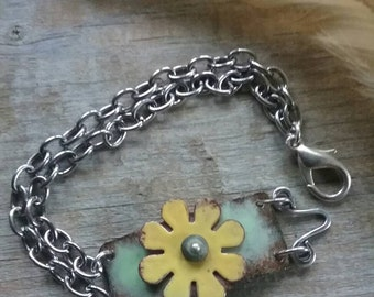 Torch fired enamel sunflower bracelet.