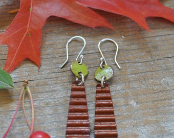 Torch Fired Dangle Earrings in Brown and Gren