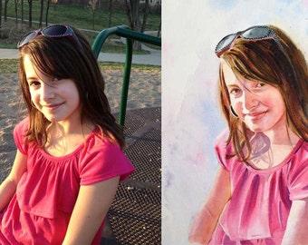 Watercolor Portrait - Custom Portrait Child or Adult - Painting on Aquabord