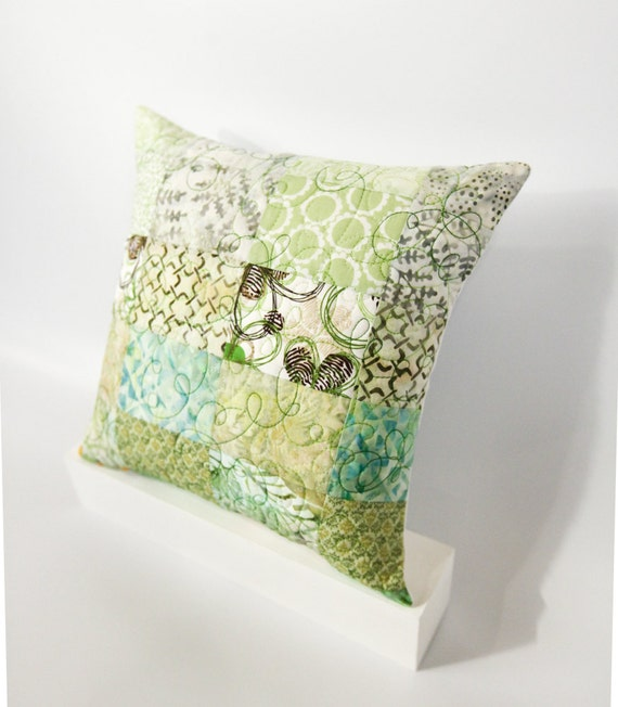 Modern Patchwork Pillow : Modern Patchwork Quilted Pillow 12x12 Green by btaylorquilts
