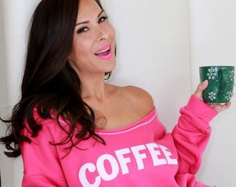 COFFEE Sweater. Wide Shouldered Cropped Super Soft Sporty Sweatshirt. Made in the Usa. Coffee Hoodie. Women's Sweatshirt. Lounge Sweater.