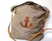 canvas sack bag in tan // leather handle and anchor
