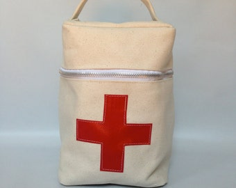 Toiletry / medicine case in off white duck canvas - red cross