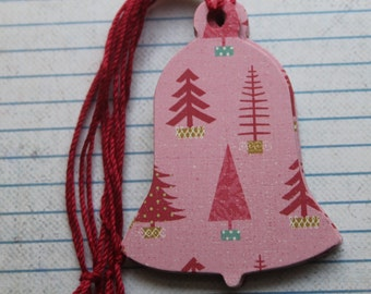 13 Bell shaped Gift Tags PINK/RED christmas trees patterned paper over chipboard Christmas Hang Tags