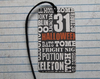 12 Halloween gift tags WORDS on patterned paper over chipboard