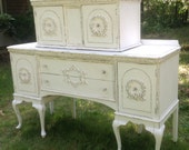 Private listing for laura Shabby Chic Unique Buffet With Top Cabinet Painted Cottage White Can Sell Seperately