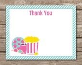 PRINTABLE Movie Night Thank You Card, Movie Thank You, Movie Party Thank You, Popcorn Thank You, Slumber Party Thank You, INSTANT DOWNLOAD