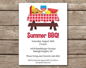 BBQ Invitation, bbq Invite, Barbecue Invitation, Barbeque Invitation, Cookout Invitation, Summer bbq Invitation, PRINTABLE