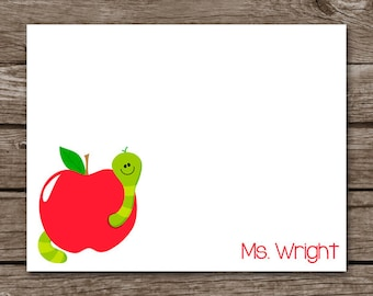 PRINTABLE Teacher Note Cards, Teacher Cards, Teacher Stationery, Teacher Stationary, Worm, Apple, Personalized Note Cards,