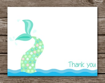 Mermaid Note Cards, Mermaid Cards, Mermaid Thank You, Mermaid Stationery, Personalized Note Cards