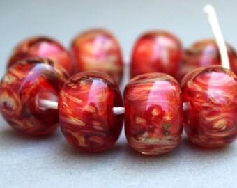 Red & Cream Swirl Boro Beads