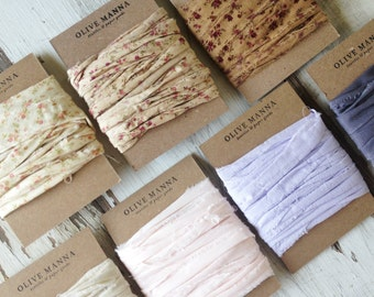 Hand-ripped Fabric Ribbon, 100% Cotton, 9 colors