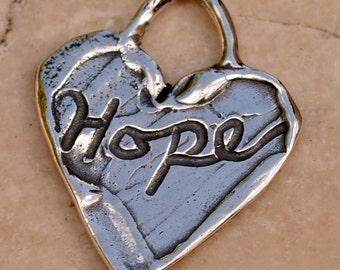 Hope on a Heart Sterling Silver Charm, H-363