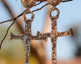 Nail Cross Earrings in Sterling Silver, 359d