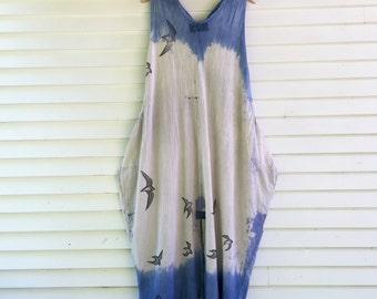 Free Bird Sundress: One Size fits S-XL,  long cotton sundress, low impact dyes, block prints, OOAK, bird dress, beach dress, lagenlook maxi