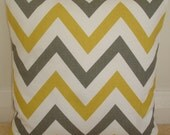 "14x14 Zig Zag Pillow Cover Saffron Mustard Yellow and Grey 14"" Retro Funky Geometric Chevron Cushion Sham Case Slip Pillowcase Gray"