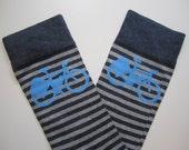 Cycle Socks - Light and dark grey stripe and sky blue printed bike