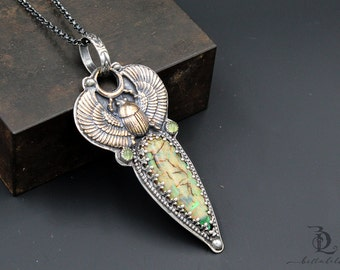 Cleopatra // Bronze Scarab, Lab Created Opal, and Peridot Gemstone Pear in Sterling Silver Pendant Necklace by Bellalili