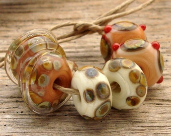 AUTUMN LEAF - Handmade Lampwork Beads - Earring Pairs -  6 Beads