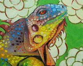 Lizard 4  12x12 inch original oil painting by Roz