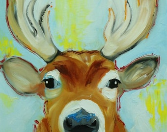 Deer 3 12x16 inch original oil painting by Roz