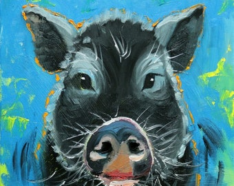 Pig painting 244 12x12 inch original oil painting by Roz