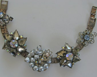 Assemblage Bracelet Vintage Jewelry Recycled Jewelry Repurposed Bracelet Vintage Earring Bracelet  Upcycled Bracelet