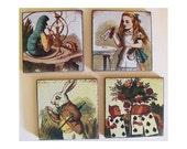 Alice in Wonderland coaster set retro vintage Victorian fairy tale white rabbit kitsch