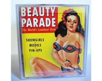 pin up tissue box retro vintage 1950's rockabilly pin up girlie magazine burlesque kitsch