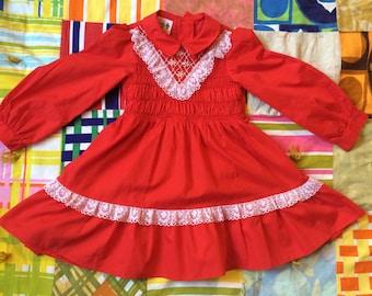 70s Smocked Dress 4T