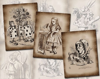 "Alice In Wonderland- PRiMiTiVE GRuNGED 3""x4"" Vintage Art Tags/Cards -CHaRMiNG Printable Collage Sheet JPG Digital File-New Lower Price"