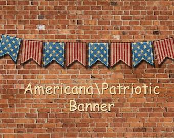 RuSTIC PaTriOtiC Americana Banner- PRiMiTiVe Flags Pennants-INSTaNT DOWNLoAD- Printable Collage Sheet JPG Digital File