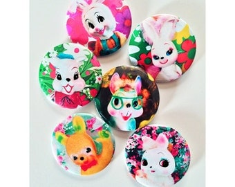 Cute as a button 6 pack of BOOPSIE BUNNY BUTTONS