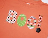 Boo! - Halloween Appliqued Boys or Girls Shirt - Orange shirt size 12 months to size 6 - Long or Short Sleeve