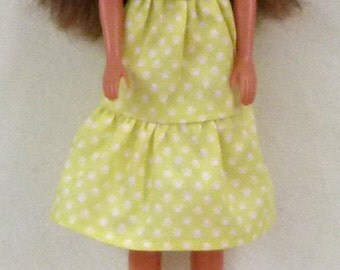 """11.5"""" Fashion doll Handmade dress - Yellow Dot with shoes"""