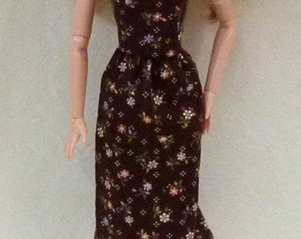 """Brown with Flowers Handmade 11.5"""" Fashion Doll Dress"""
