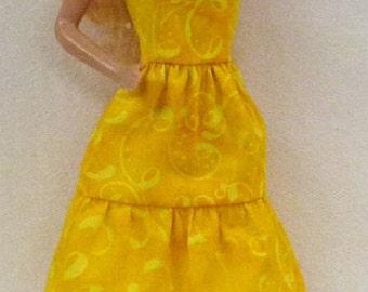 "11.5"" fashion doll clothes - yellow batik doll dress"