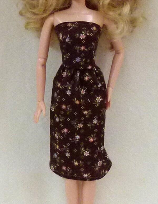 braun mit blumen handgemachte 115 fashion doll kleid. Black Bedroom Furniture Sets. Home Design Ideas