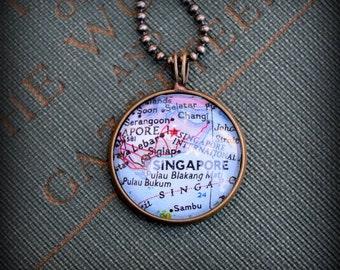 Singapore Map Necklace - Custom Handmade Pendant - Charm Jewelry