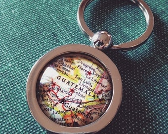 Guatemala Vintage Map Key Chain - Great Gift for Friends - Mission Trip
