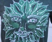 CUSTOM LISTING for bluvelvet -  Greenman Cotton Batik T-Shirt. Size X-LARGE.