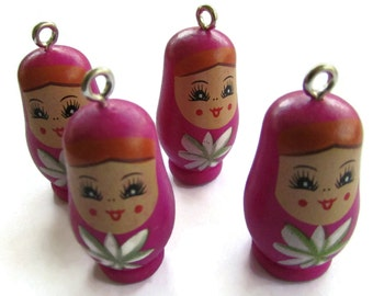 4 37mm Dark Pink Nesting Doll Pendant Wooden Matryoshkas Russian Doll Pendant Wooden Beads Wood Beads Matryoshka Pendants Jewelry Making