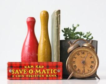 Vintage Plaid Toy Cash Register Drawer, Save-O-Matic, Kam Kap