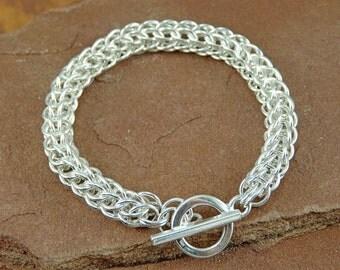 Chainmaille Bracelet Kit, Unisex Full Persian Bracelet Kit in Sterling Silver, Silver Filled, Gold Filled, Bronze, Copper, Jeweler's Brass