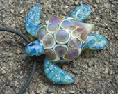 Lampwork Boro Glass Pendant - Focal Bead - SEA TURTLE blue lilac