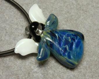 Lampwork Boro Glass Pendant - Focal Bead - ANGEL blue metallic