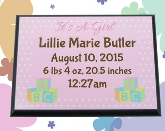 BABY PLAQUE Birth Announcement Girl Boy Pink Blue Custom Name Date Weight Time Length Personalized Gift Nursery Decor Keepsake Its A Girl
