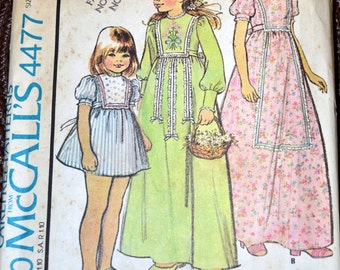 Vintage Sewing Pattern McCall's 4477  Girls' Dress   Size 7
