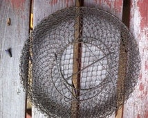 antique wire storage basket flattens out hang or store round older than others that i have offered